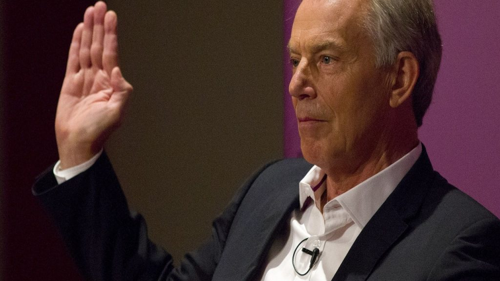 Britain's former Prime Minister and former Labour Party leader, Tony Blair, gestures as he speaks at an event attended by Labour supporters in central London on July 22, 2015. Blair weighed in on the leadership contest in Britain's opposition Labour party as a new poll electrified the race by putting leftwinger Jeremy Corbyn ahead. Blair, a moderniser who was Labour's longest-serving premier, urged the party to avoid tacking to the left if it is to recover from a crushing defeat in May's general election and win the next one in 2020. AFP PHOTO / JUSTIN TALLIS (Photo credit should read JUSTIN TALLIS/AFP/Getty Images)